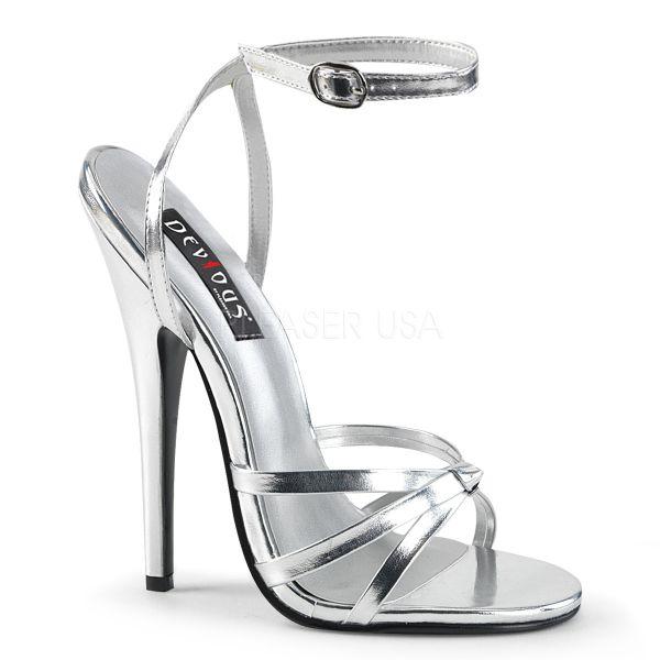 High-Heel Riemchen-Sandalette silber Lederimitat DOMINA-108